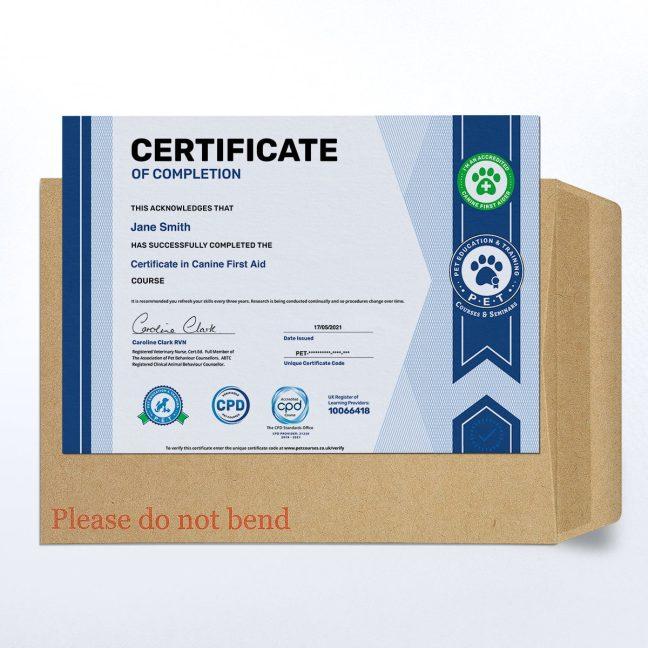 Course Certificate - Printed Hard Copy